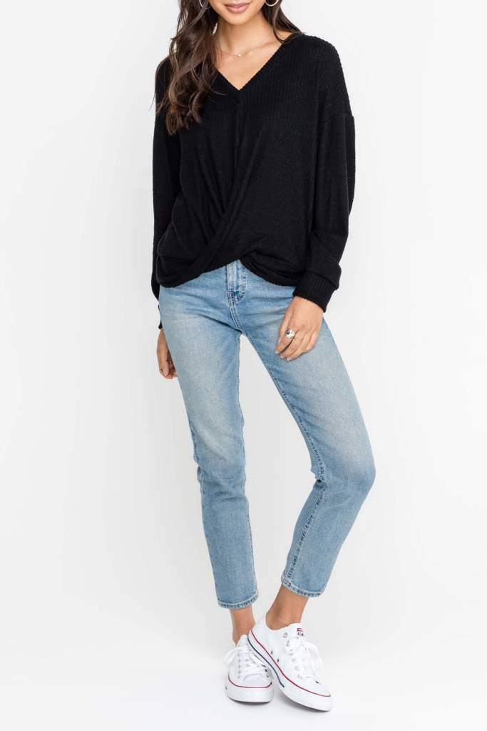 Emberly L/S Vneck Twist Front Knit Top