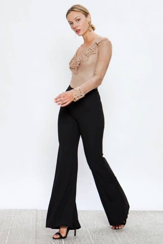 Elina Solid Flare Pants W/Center Seam