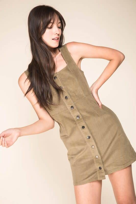 Button Down Cordurory Mini Dress