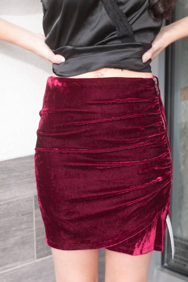Catalina Velvet Ruched Mini Skirt