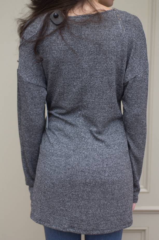 Mariah L/S Vnck Side Tie Knit Tunic Top