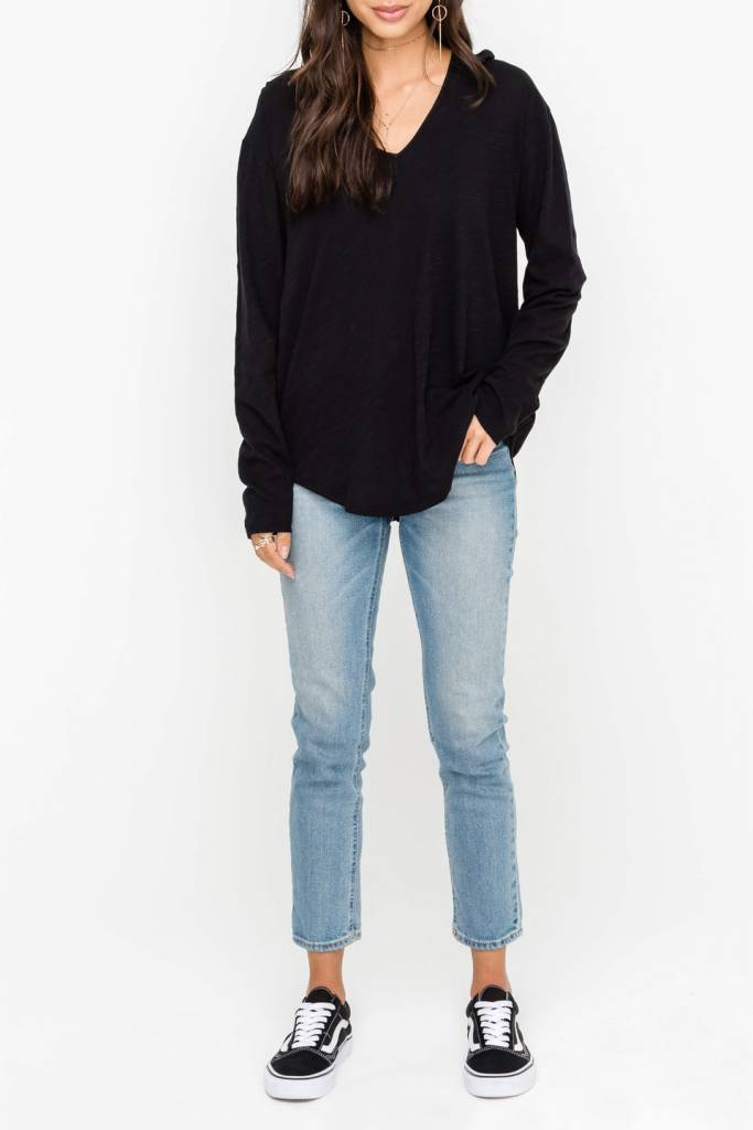 Adeline L/S Boxy Seam Detail Knit Top
