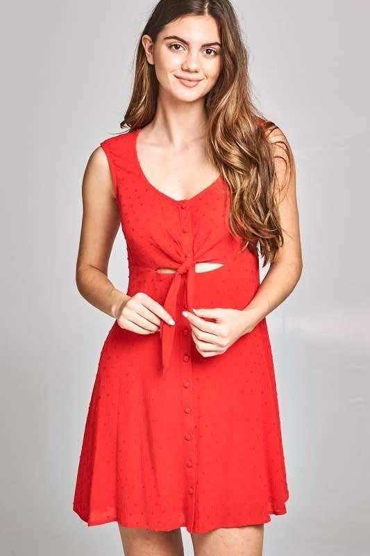 Erin Textured Front Tie Dress