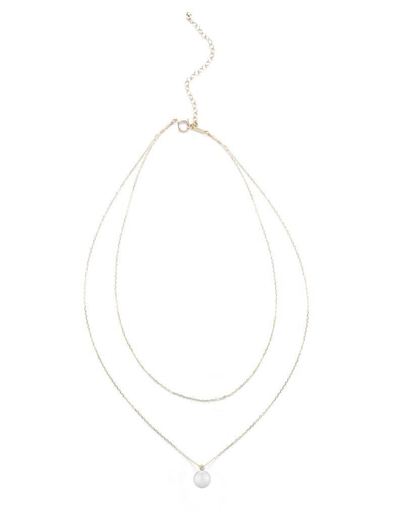 Mizuki 14KY Double Chain White Pearl Necklace