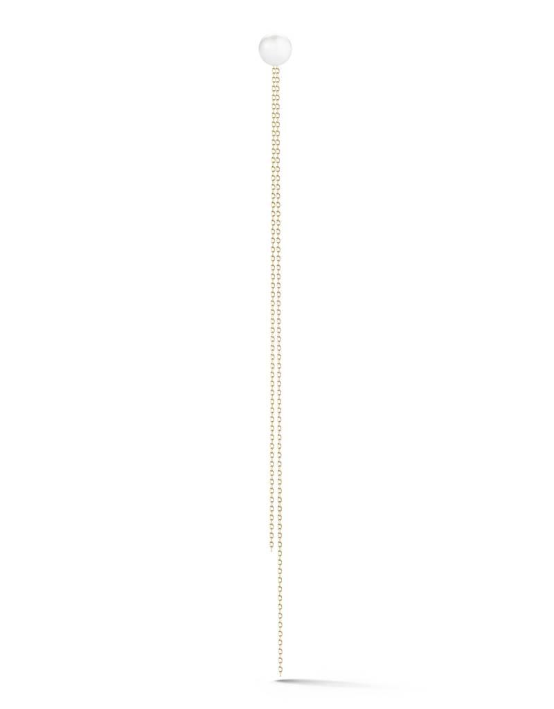 14K Yellow Gold White Pearl Chain Earrings