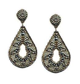 Beaded Teardrop Pyrite Earring