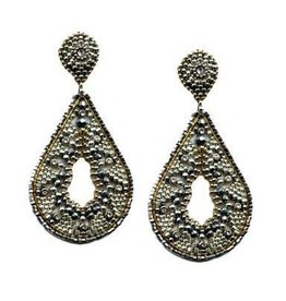 Miguel Ases Beaded Teardrop Pyrite Earring