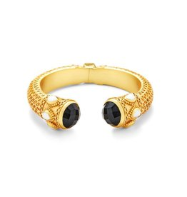 Julie Vos Baroque Rose-cut Hinge Cuff Gold Black Onyx Endcaps with Pearl Accents