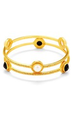 Julie Vos Florentine Stone Bangle Gold