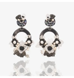 Ranjana Khan Black & White Flower Earrings