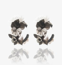 Ranjana Khan Black & White Flower Hoop Earrings