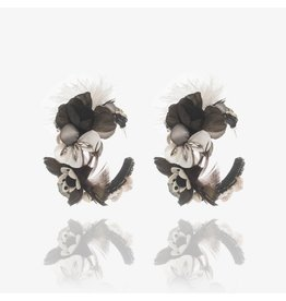 Black & White Flower Hoop Earrings