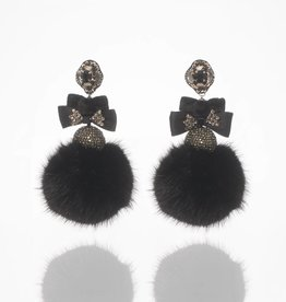 Ranjana Khan Black Disco Fur Earrings