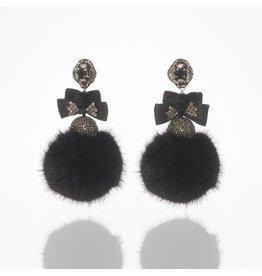 Black Disco Fur Earrings