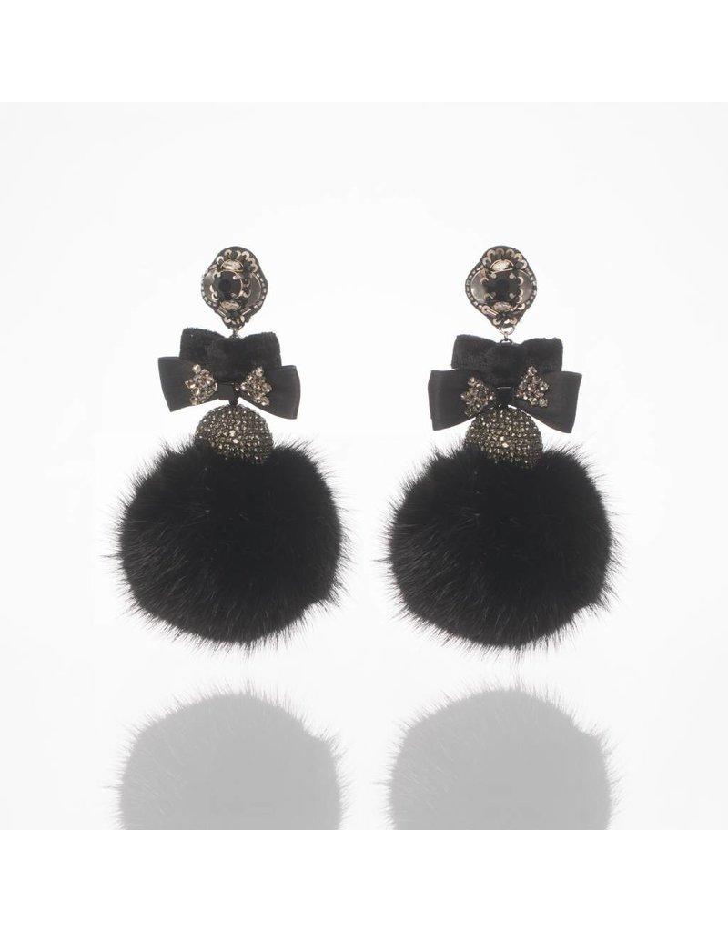 Ranjana Khan Black Disco Fur Earrings