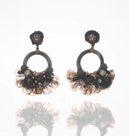 Ranjana Khan Black Open Circle Feather Earrings