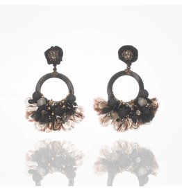 Black Open Circle Feather Earrings