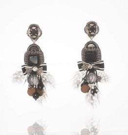Ranjana Khan Black Polka Dot Feather Earrings