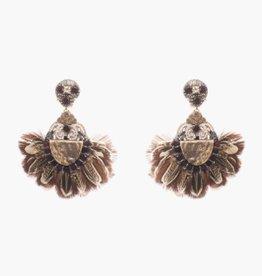 Ranjana Khan Caceribu Brown Feather and Crystal Clip On Earring