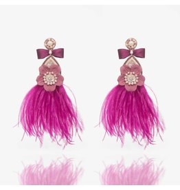 Ranjana Khan Magenta Feather Earrings