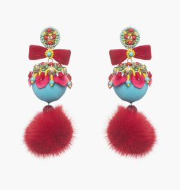 Ranjana Khan Marataruna Blue/Red Fur Earrings