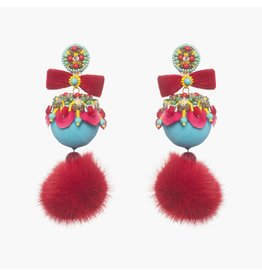 Marataruna Blue/Red Fur Earrings