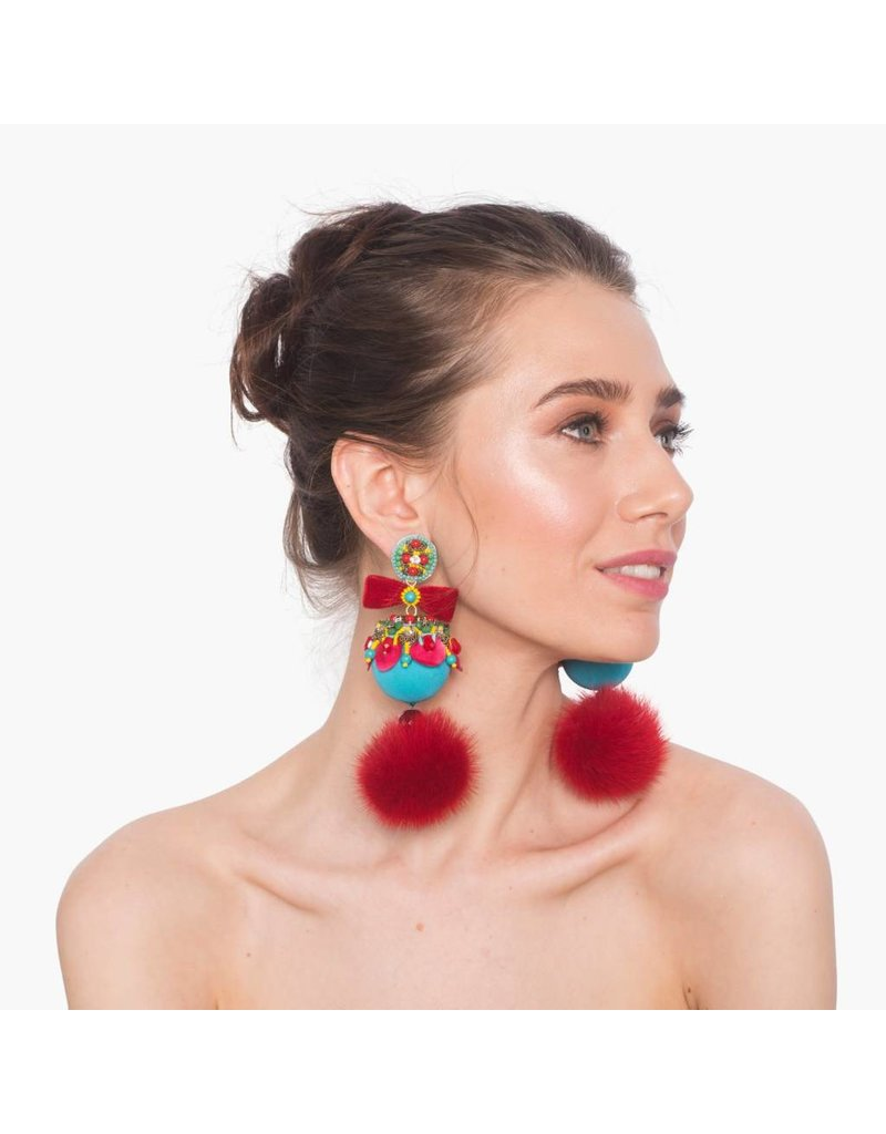 Marataruna Blue/Red Fur Earrings