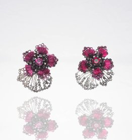 Ranjana Khan Pink Flower Crystal Clip Earrings