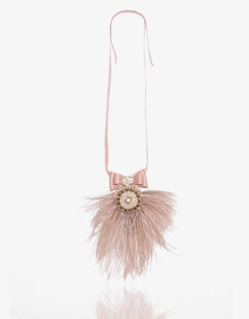 Ranjana Khan Pink Ostrich Feather Necklace
