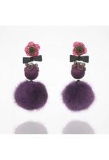Ranjana Khan Purple Fur Flower Drop Earrings