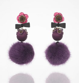 Ranjana Khan Purple Fur Flower Drop Earrings