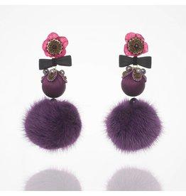 Purple Fur Flower Drop Earrings