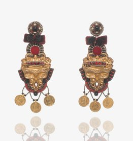 Ranjana Khan Red & Black Brass Earrings