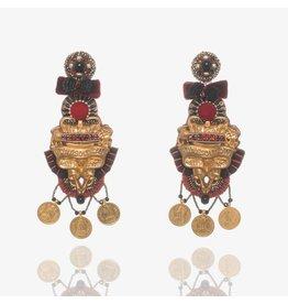 Red & Black Brass Earrings