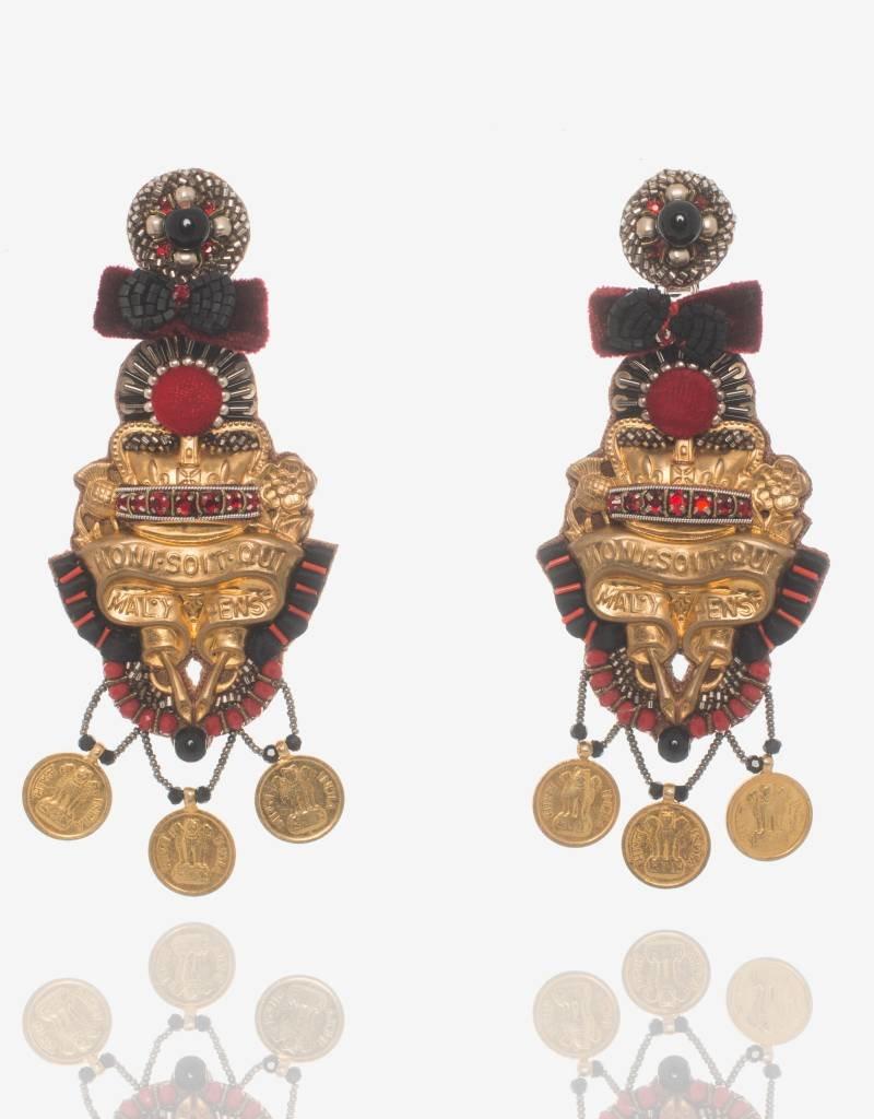 Ranjana Khan Red & Black Brass Earrings