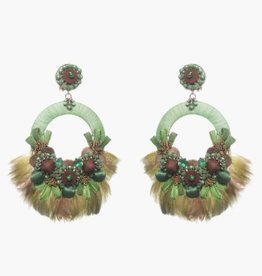 Ranjana Khan Sambrodromo Green Feather Earring