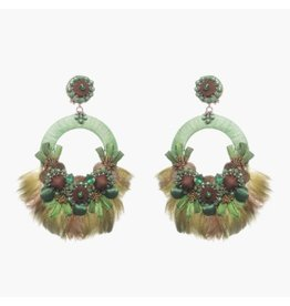 Ranjana Khan Sambrodromo Green Feather Earring