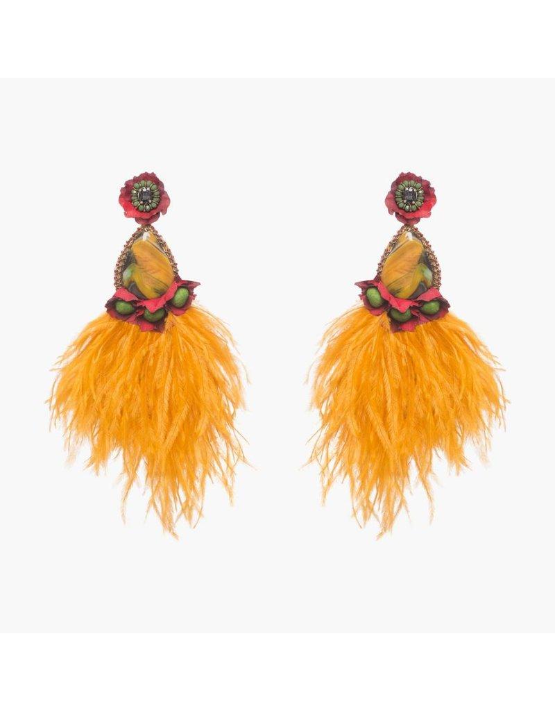 Santana Large Orange Clip On Earring