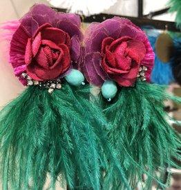 Ranjana Khan Tijuca Red/Purple Flower w Green Feather