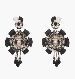 Ranjana Khan Urca Black/White Feather and Ribbon Clip Earring