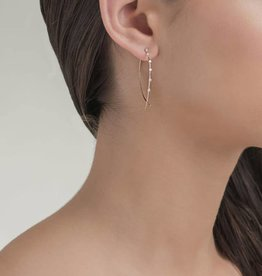 Lana Small Solo Wire Upside Down Hoops- White Gold