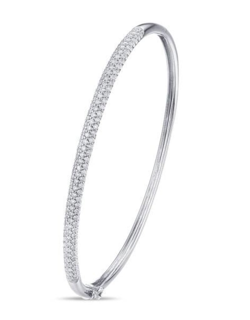 Luvente 14k White Gold Pave Diamond Bangle