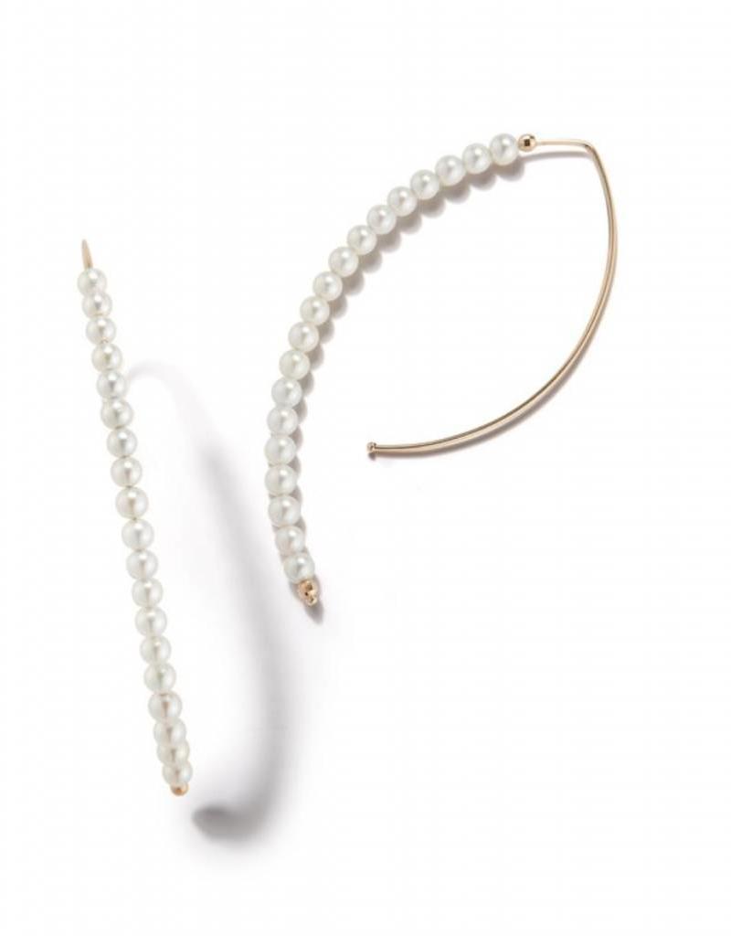 14K Akoya Pearl Medium Hoop Earrings