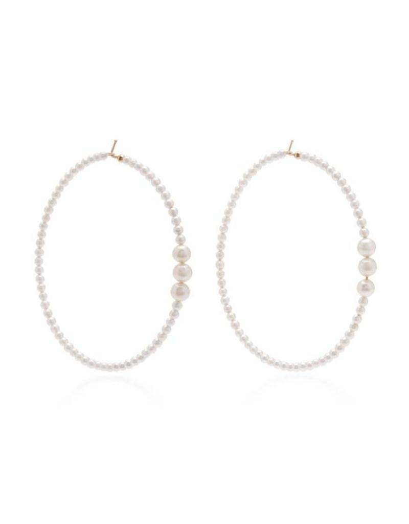 White 14K Earring Mixed Akoya Extra Large Hoop
