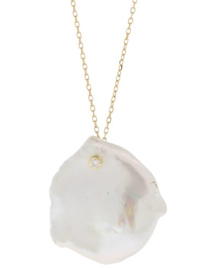 14k Petal Pearl Diamond Necklace