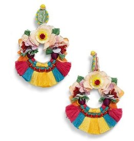 Ranjana Khan Multi Color Fringe Earrings
