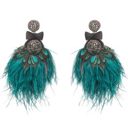 Ranjana Khan Lindeza Peacock and Ostrich Feather Crystal Earrings