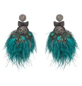 Lindeza Peacock and Ostrich Feather Crystal Earrings