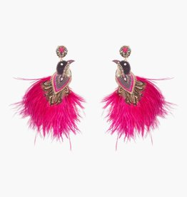 Ranjana Khan Flamengo Peacock Magenta Earrings