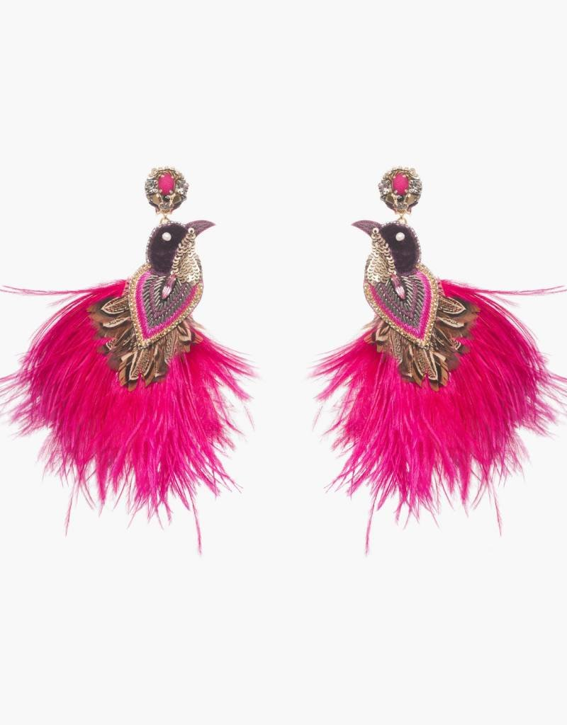 Ranjana Khan Flamengo Peacock Magenta Earrings